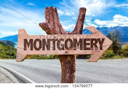 Montgomery wooden sign in a road