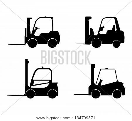 set forklifts illustrated on a white background