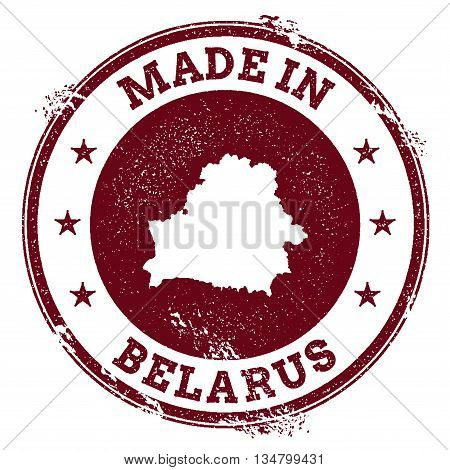 Belarus Vector Seal. Vintage Country Map Stamp. Grunge Rubber Stamp With Made In Belarus Text And Ma