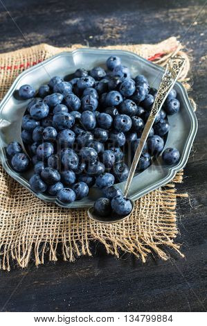 Bilberry On Vintage Wooden Table