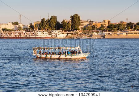 LUXOR, EGYPT - FEBRUARY 11, 2016: Tourist boats at Luxor waterfront.