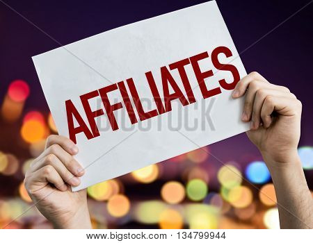 Affiliates placard with bokeh background