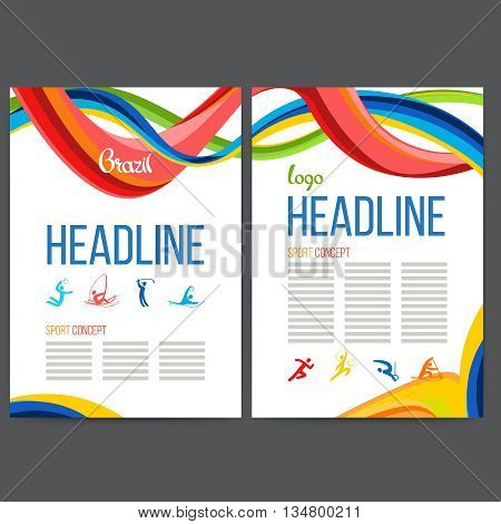 Vector composition of a wave of bands with different colors are intertwined including sport symbols. Concept brochure, web sites, page, leaflet, signs and logo text separately Brazilian carnival.