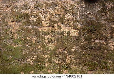 Closeup of stone wall masonry texture overgrown with moss
