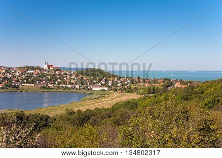 Panoramic view of Tihany village at lake Balaton with the inner lake in the front and the Balaton in the back