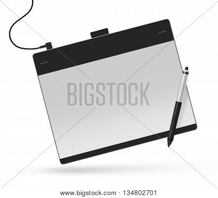 Graphic tablet with stylus 3d illustration. Big picture of digitizer device with digital pen isolated on white. Creative draw tool for designers. Icon of tablet display near multimedia pencil sketching.