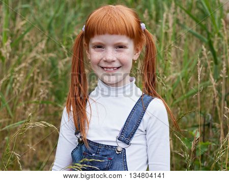 Very beautiful redhead little girl with freckles smiles brightly. Portrait of a close-up on background of grass.