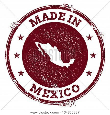 Mexico Vector Seal. Vintage Country Map Stamp. Grunge Rubber Stamp With Made In Mexico Text And Map,