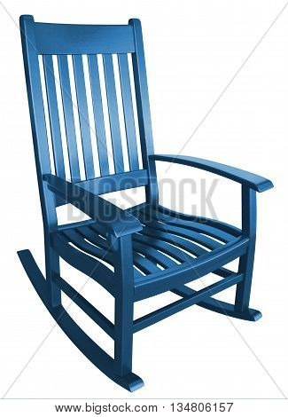 Blue democrat rocking chair facing right empty