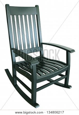 Green rocking chair sitting on a porch in summer relaxing facing right