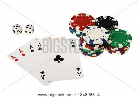 Poker cards chips and dices on white background with clipping path