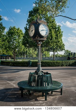 Lexington Kentucky May 6 2016:  Keeneland clock on an empty morning at the horse racing venue