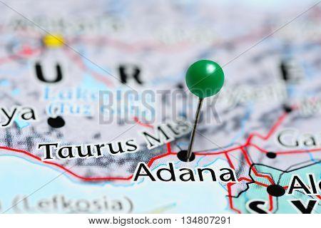 Adana pinned on a map of Turkey