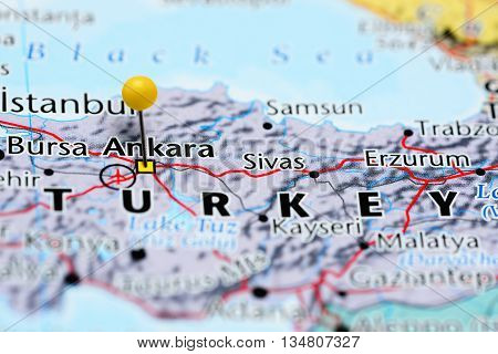Ankara pinned on a map of Turkey
