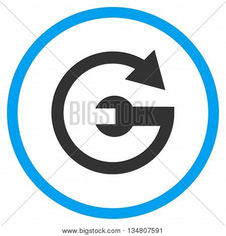 Repeat Service vector bicolor icon. Image style is a flat icon symbol inside a circle, blue and gray colors, white background.