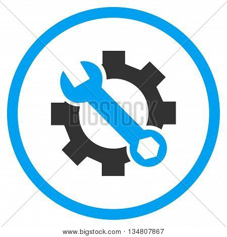 Developer Tools vector bicolor icon. Image style is a flat icon symbol inside a circle, blue and gray colors, white background.