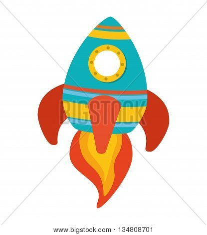science and technology represented by rocket cartoon  icon over flat and isolated design