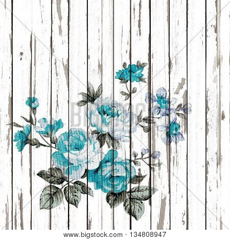 vintage style of tapestry flowers fabric pattern on old white wooden background.