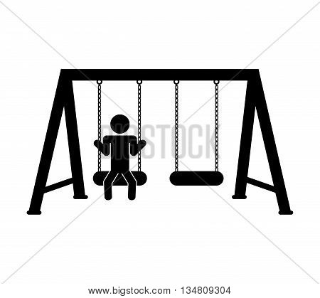 Green area concept represented by swing for playground icon over flat and isolated design