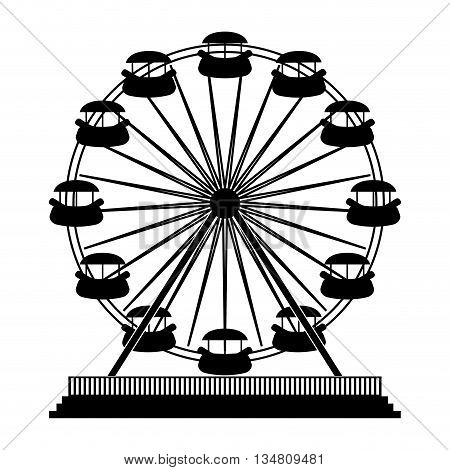 Carnival and circus concept represented by silhouette of carousel icon over flat and isolated design