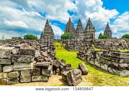 The large towers of an ancient (9th century) Hindu temple at Prambanan in Yogyakarta/Central Java Indonesia. This is a UNESCO world heritage site.