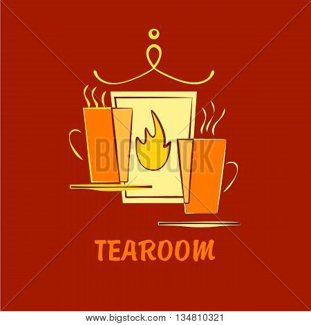 Vector Template Logo For Tea Room, Suburban Cafe, Hotel, Premium