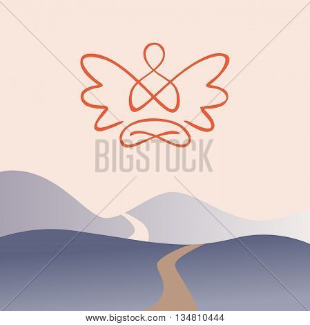 Meditation On A Background Of Nature, Mountain Trail. Spiritual