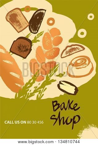 Set Of Illustration Of Bread And Roll For Menu Bake Shop And Hou