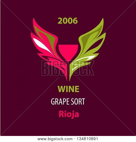 Illustration For Wine Grape, Special Sort Exclusive Drink On Col