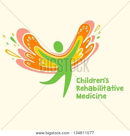 Childrens rehabilitation medicine. Vector logo depicting the silhouette of a healthy, happy child.