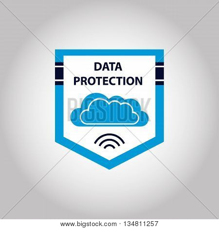 Vector logo cloud data protection information. Shield internet security illustration.