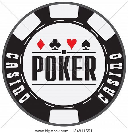 Black casino chips with text Poker. Vector illustration.