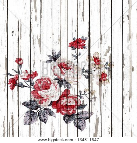 vintage style of tapestry flowers fabric pattern on wooden background.