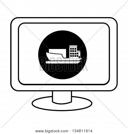 electronic device screen with black circle and cargo ship icon over isolated background, vector illustration