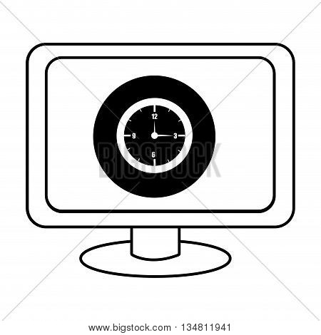 electronic device screen with black circle and watch icon over isolated background, vector illustration