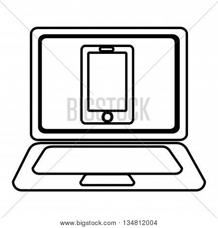 laptop with a smartphone icon on the screen over isolated background, vector illustration