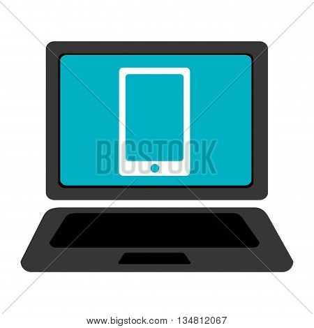 black laptop with blue screen and white smartphone over isolated background, vector illustration