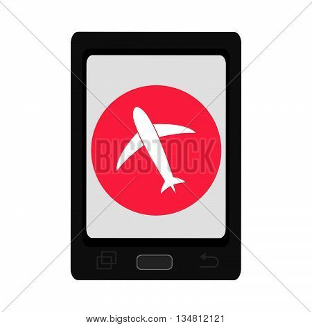 black smartphone with red circle and white airplane icon over isolated background, vector illustration