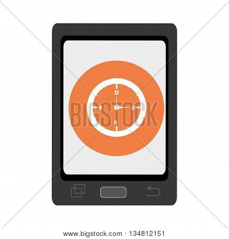 black smartphone with orange circle and white watch icon over isolated background, vector illustration