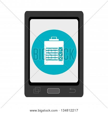 black smartphone with blue circle and white check list icon over isolated background, vector illustration
