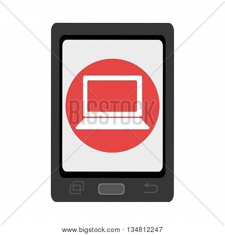 black smartphone with red circle and white laptop icon over isolated background, vector illustration