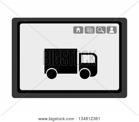 black electronic device with black truck and media  icon on the screen over isolated background, vector illustration