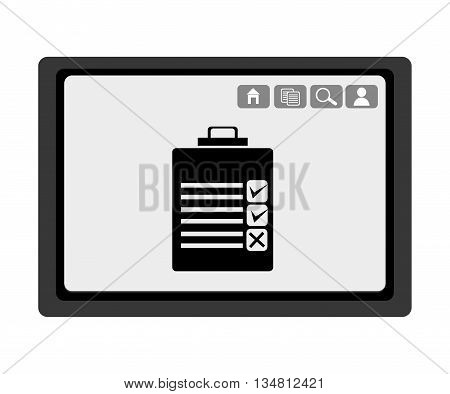 black electronic device with black check list and media  icon on the screen over isolated background, vector illustration