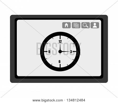 black electronic device with black clock and media  icon on the screen over isolated background, vector illustration