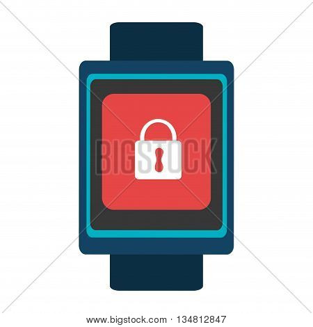 blue  smart watch with blue frame and red square white lock icon on the screen over isolated background, vector illustration