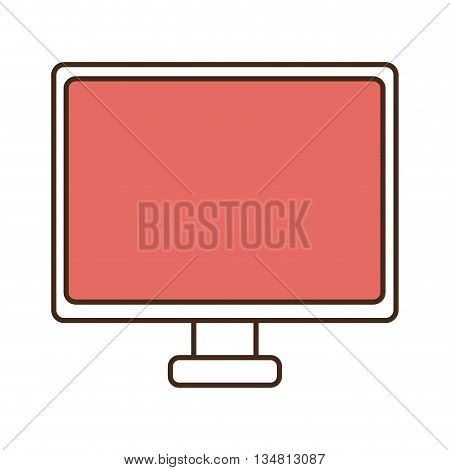 white electronic device  with red screen over isolated background, vecotor illustration