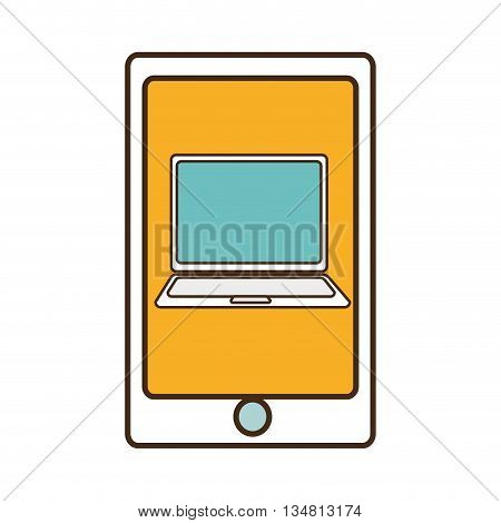 white electronic device with colorful screen over isolated background, vector illustration