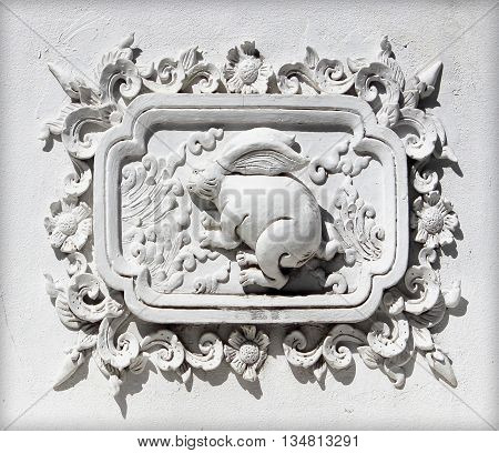 Old Stucco white sculpture decorative pattern wall design square format
