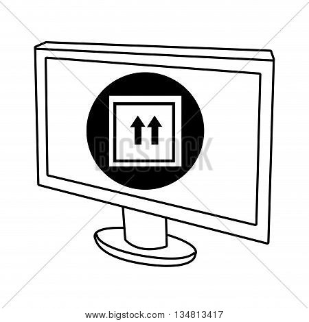 electronic device screen with black circle and white box icon over isolated background, vector illustration