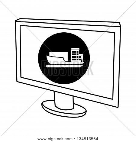 electronic device screen with black circle and fwhite cargo ship icon over isolated background, vector illustration